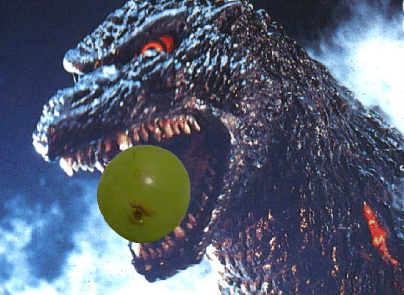 Godzilla Chokes on Giant Grape!